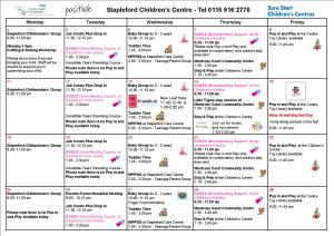 Stapleford Whats On Calendar - March 2013